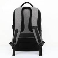 Городской мужской рюкзак для ноутбука ,USB — выход,черый,серый, фото 6