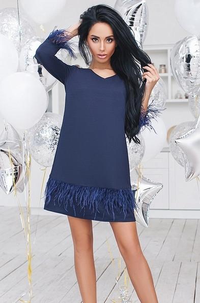 f38caf30d0cb8ec Короткое платье с перьями PRA-1190.1191 - Joanna - интернет магазин одежды  в Одессе
