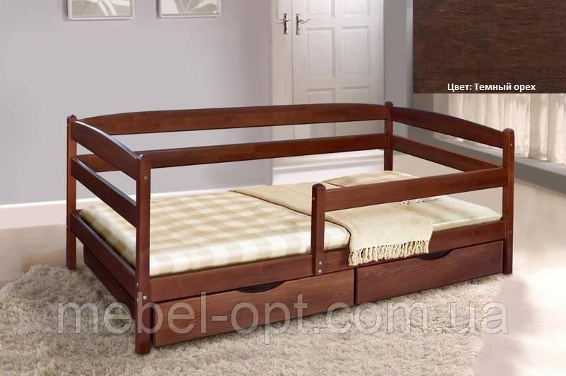 Детская односпальная кровать Ева с ящиками + планка 70х140, цвет темный орех