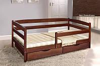 Детская односпальная кровать Ева с ящиками + планка 70х140, цвет темный орех, фото 1