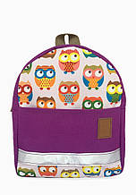 Детский рюкзак непромокаемый Совы розовый и фиолетовый