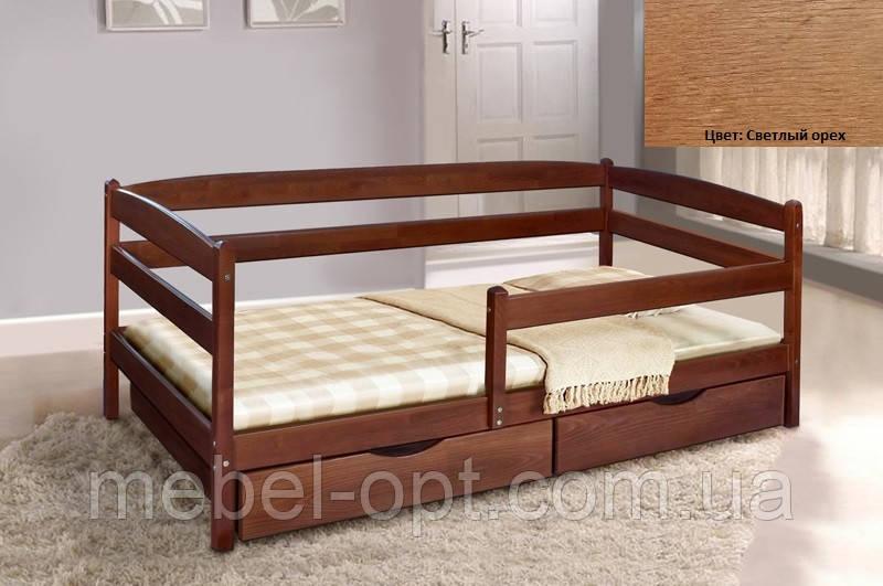 Детская односпальная кровать Ева с ящиками + планка 70х140, цвет светлый орех