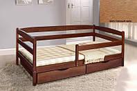 Детская односпальная кровать Ева с ящиками + планка 70х140, цвет светлый орех, фото 1