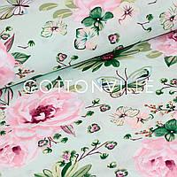 Хлопковая ткань Розы на мятном фоне