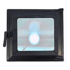 Топочная дверца для печи и камина со стеклом 290х320 мм, чугунная печная, каминная дверка 102862
