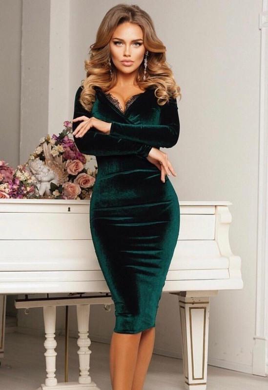 5aa3b236847 Платье с Глубоким Вырезом Декольте VK-H451 — в Категории