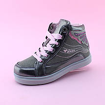 Детские ботинки демисезонные девочке серые Бабочка тм BIKI размер 31, фото 3