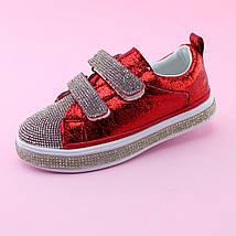 Детские красные Слипоны кроссовки  Стразы на девочку бренд Томм размер 28, фото 3