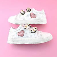Детские слипоны кроссовки белые для девочки на липучках тм Том.м размер 28,31
