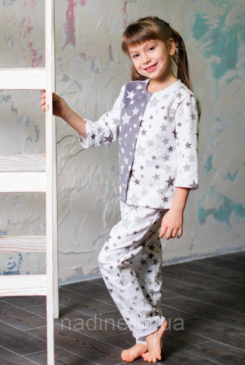 Фланелевая пижама Eirena Nadine (753-10) Звёздочки рост 110, белый цвет