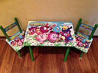 Детский столик и 2 стульчика, серия мультик, Смешарики, Украина