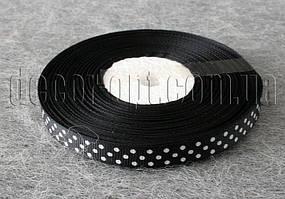 Лента репсовая черная с горохом 0,9 см 25 ярд 39