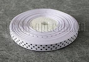 Лента репсовая белая с черным горохом 0,9 см 25 ярд