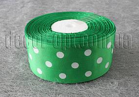 Лента репсовая зеленая с горохом 4 см 25 ярд
