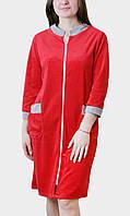 """Халат велюровый женский """"Красный"""" на молнии классика ВК011, фото 1"""