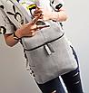 Рюкзак женский сумка кожзам с заклепками Vanesa Серый, фото 3