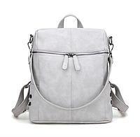 Рюкзак женский сумка кожзам с заклепками Vanesa Серый