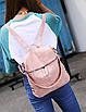 Рюкзак женский сумка кожзам с заклепками Vanesa Розовый, фото 5