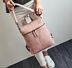 Рюкзак женский сумка кожзам с заклепками Vanesa Розовый, фото 3