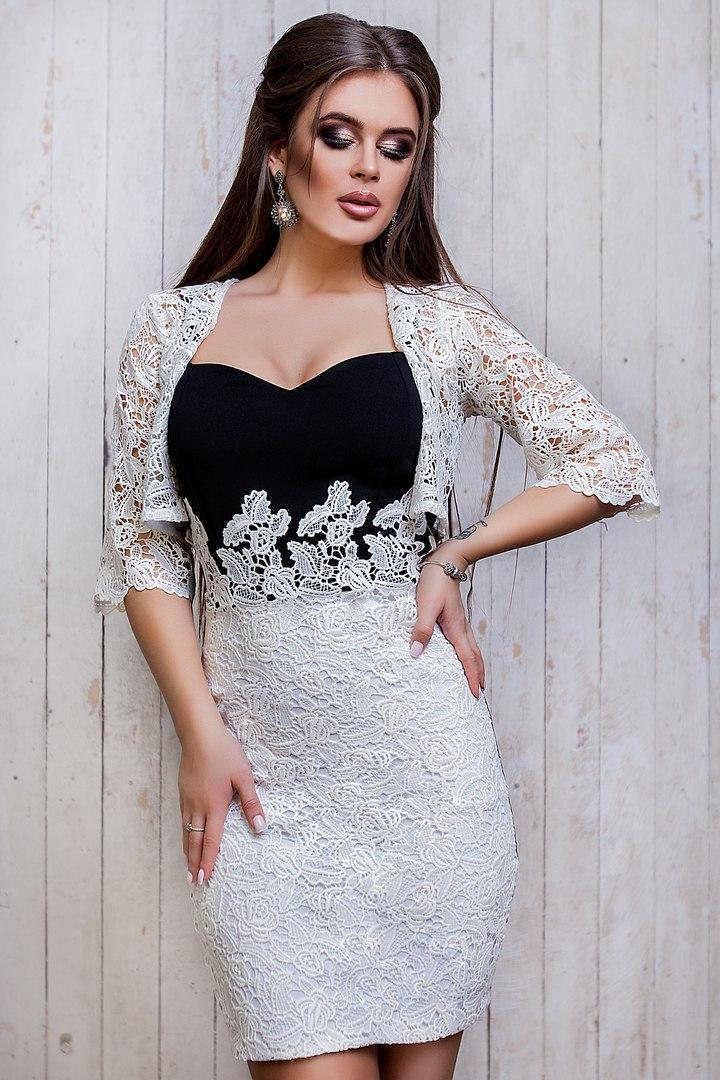 eccc8d7ec3a Черное Платье с Белым Кружевом SV-3677 — в Категории