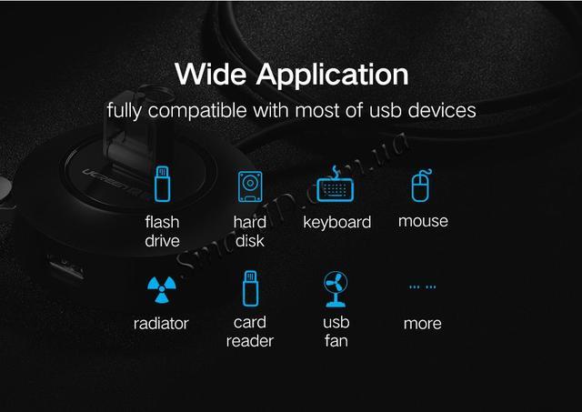 USB хаб/концентратор/разветвитель Ugreen на 4 USB 2.0 порта CR106 50261 Черный