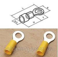 Кабельный наконечник кольцевой (тип О) 4-6кв.мм., ∅5,3мм, жёлтый (100шт.)
