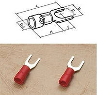 Кабельный наконечник вилочный (тип U) 0,5-1,5кв.мм. ∅4,3мм красные (100шт.)