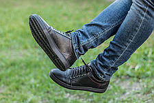 Мужские натуральные кожаные кеды Black Leather Original, фото 2