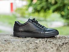 Мужские натуральные кожаные кеды Black Leather Original, фото 3