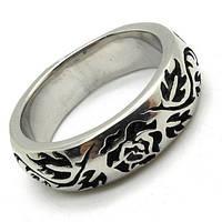 Кольцо мужское Роза (сталь), фото 1