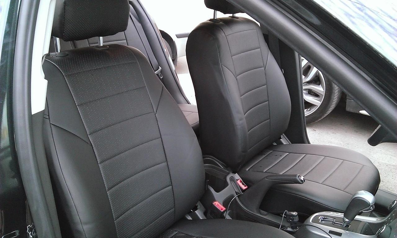 Чехлы на сиденья БМВ Е46 (BMW E46) (универсальные, экокожа, отдельный подголовник)