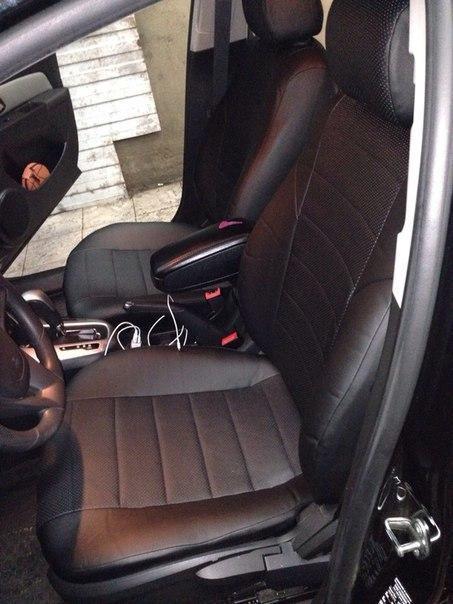 Чехлы на сиденья Фиат Добло Комби (Fiat Doblo Combi) (универсальные, экокожа, отдельный подголовник)