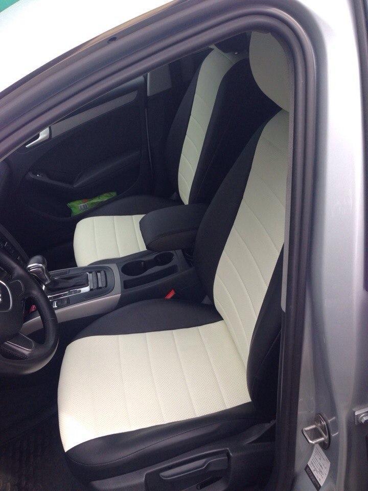 Чехлы на сиденья БМВ Е21 (BMW E21) (универсальные, экокожа, отдельный подголовник) черно-белый