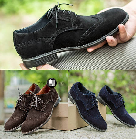 Мужские натуральные замшевые броги\туфли 3 цвета в наличии, фото 2