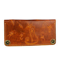 Кошелек кожаный, бумажник, женский Gato Negro Catswill Orange ручной работы