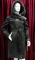 Кожаная куртка женская с капюшоном коричневая