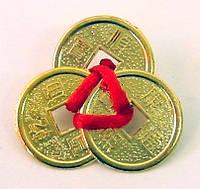 3 монетки в кошелек 2 см золотые