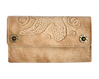 Клатч кожаный, кошелек, женский Gato Negro Alfa Big Turtle Ivory ручной работы