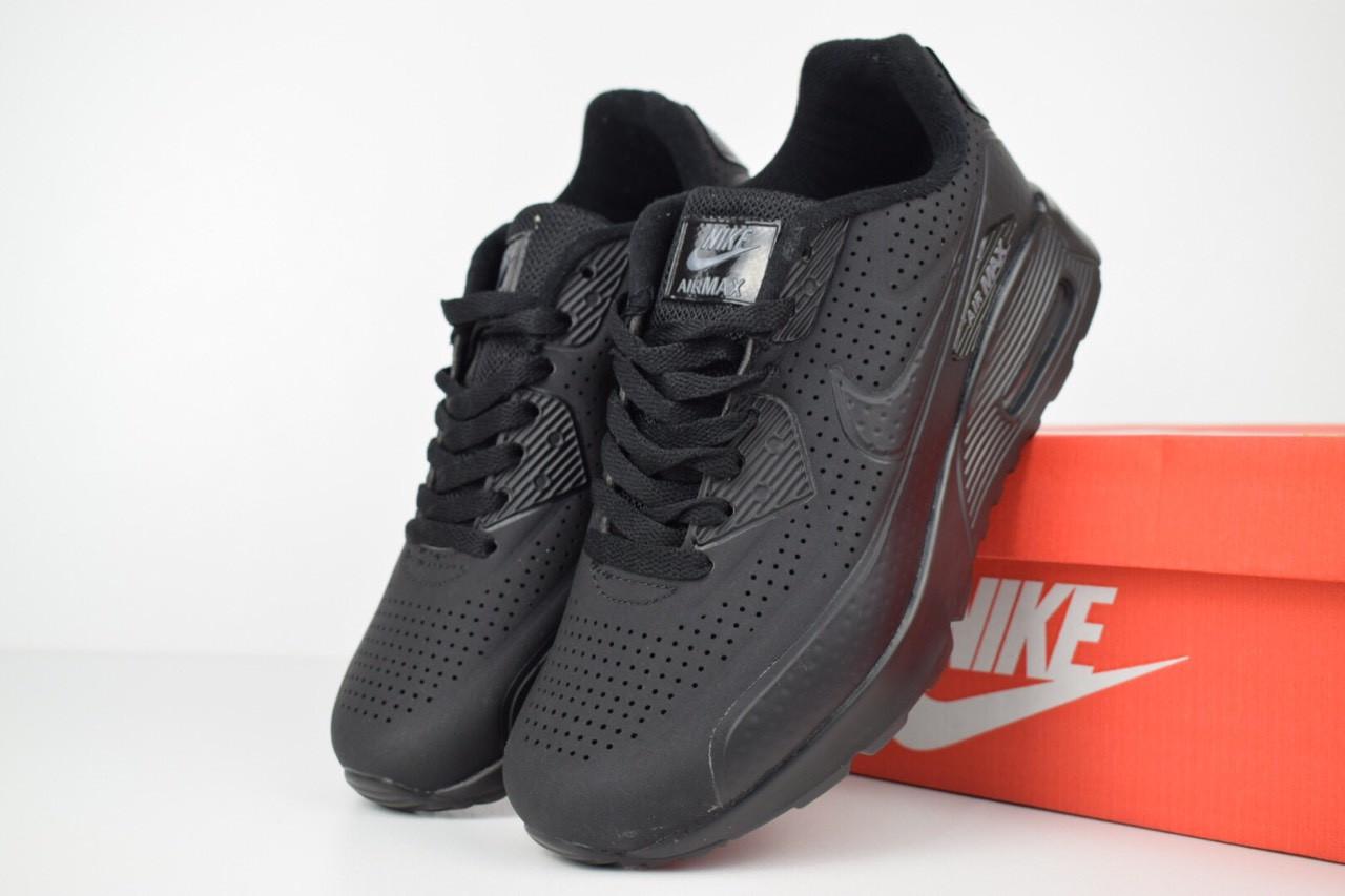 706541d0 Женские кроссовки в стиле Nike Air Max 90 черные полностью эко нубук - Super  Star в