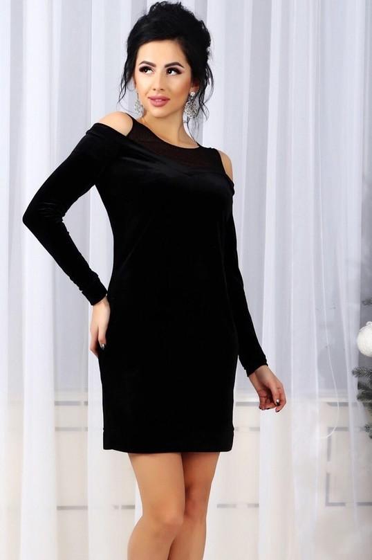 fbe0c683bfc Черное Велюровое Платье OKO-10154 — в Категории