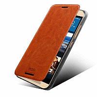 Кожаный чехол книжка MOFI для HTC One M9 коричневый
