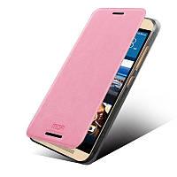 Кожаный чехол книжка MOFI для HTC One M9 розовый
