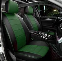 Чехлы на сиденья Чери Амулет (Chery Amulet) (модельные, экокожа, отдельный подголовник) Черно-зеленый