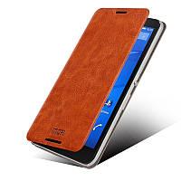 Кожаный чехол книжка MOFI для Sony Xperia E4 коричневый