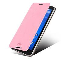 Кожаный чехол книжка MOFI для Sony Xperia E4 розовый