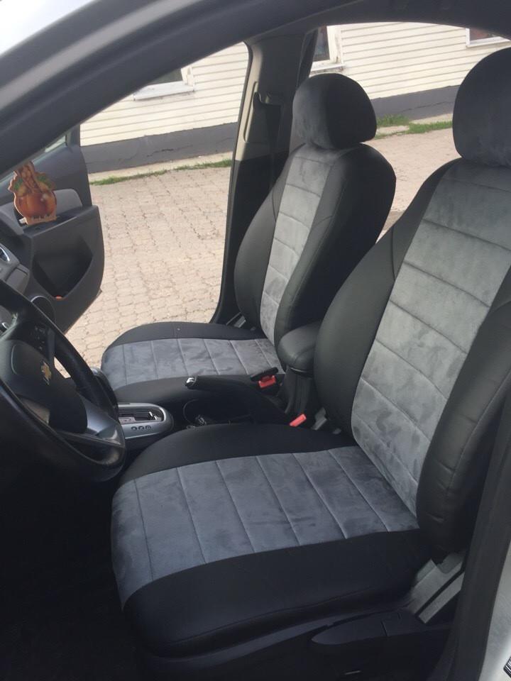 Чехлы на сиденья БМВ Е21 (BMW E21) (универсальные, экокожа+Алькантара, с отдельным подголовником)