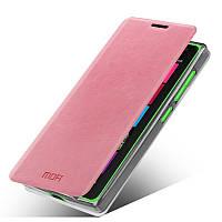 Кожаный чехол книжка MOFI для Microsoft Lumia 532 розовый