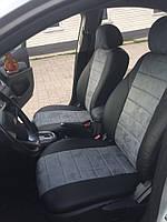 Чехлы на сиденья Рено Сандеро Степвей (Renault Sandero Stepway) (универсальные, экокожа+Алькантара, с отдельным подголовником)