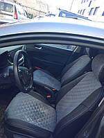 Чехлы на сиденья Тойота Авенсис (Toyota Avensis) (универсальные, экокожа+Алькантара, с отдельным подголовником)