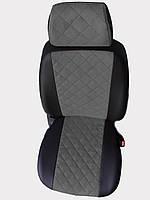 Чехлы на сиденья Сеат Инка (Seat Inca) (универсальные, экокожа+Алькантара, с отдельным подголовником) черно-серый